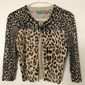 Leopard 3/4 sleeve cardigan with anchor buttons
